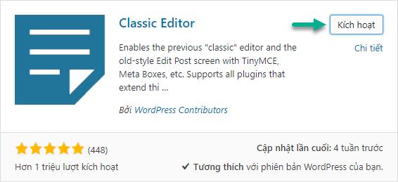 Cài đặt plugin Classic Editor (TinyMCE)